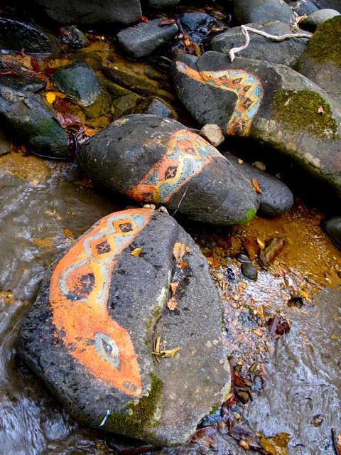 Rock painted snake