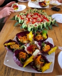 Cucumber canapes, cabbage boats