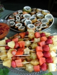Fruit kebobs with fruit drizzle