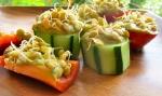 Guacamole canapes, lentil sprouts