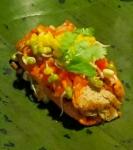 Tamale, banana leaf wrap filling, detail