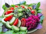 Salad, pumpkin seed pesto