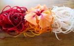 Beet, carrot, chayote spiral slicer garnish