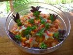 Seasonal tropical fruit salad, mint