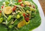 Salad dressing UNDER the salad