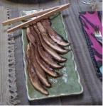 Marinated portobello mushroom strips