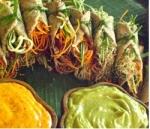 Coconut poppy spring rolls